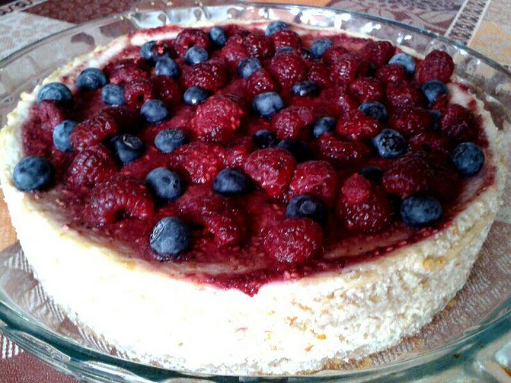 Cheesecake de avena y frambuesas-arándanos orgánicos