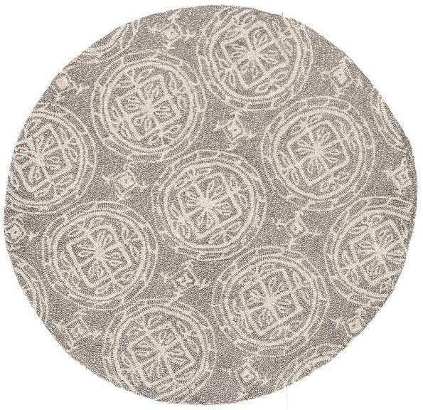 Alexander Home Hand-hooked Savannah Grey/ Ivory Medllion Rug (3' x 3' Round)