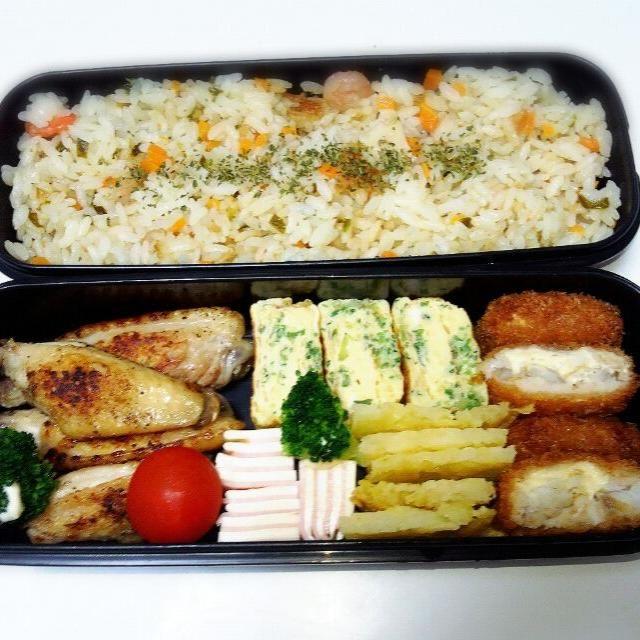 ~おしながき~ *ピラフ *鶏の塩焼き *たまごやき *ガレット *ハムチーズ *白身魚のフライ - 23件のもぐもぐ - ピラフ弁当♪ by Michiko  Araki