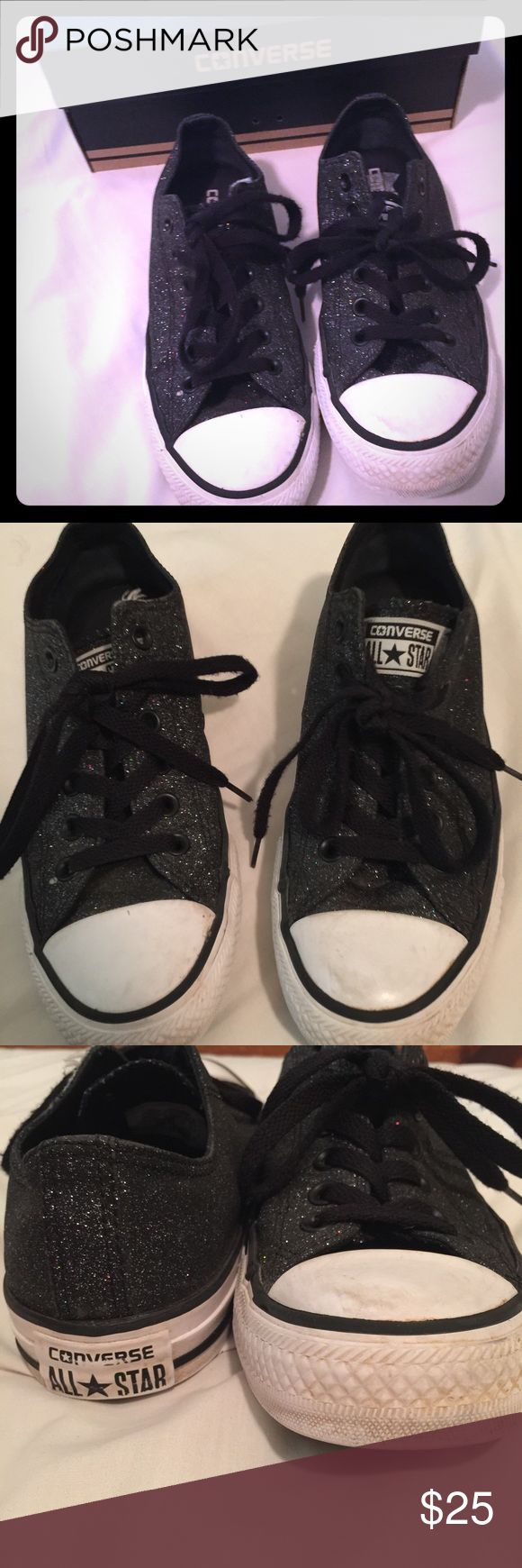 Black glitter converse All Star Black Glitter Converse. They are still in good condition. A few scuff marks and discoloration on the white tips. Perfect shoes to dress up any outfit. Comes with original box. Make an offer. Converse Shoes Sneakers