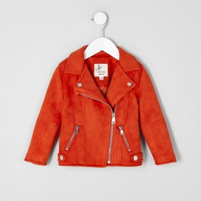 Mini girls red faux suede biker jacket - Baby Girls Coats & Jackets - Mini Girls - girls