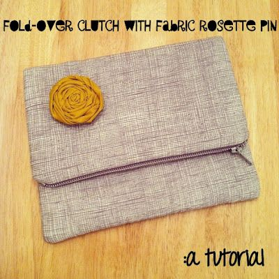 Fold-Over Clutch with Fabric Rosette Pin - tutorial: Clutches Tutorials, Fabrics Rosette, Rosette Pin, Diy Clutches, Crafts Blog, Folding Ov Clutches, Bags, Fabric Rosette, Foldover Clutches