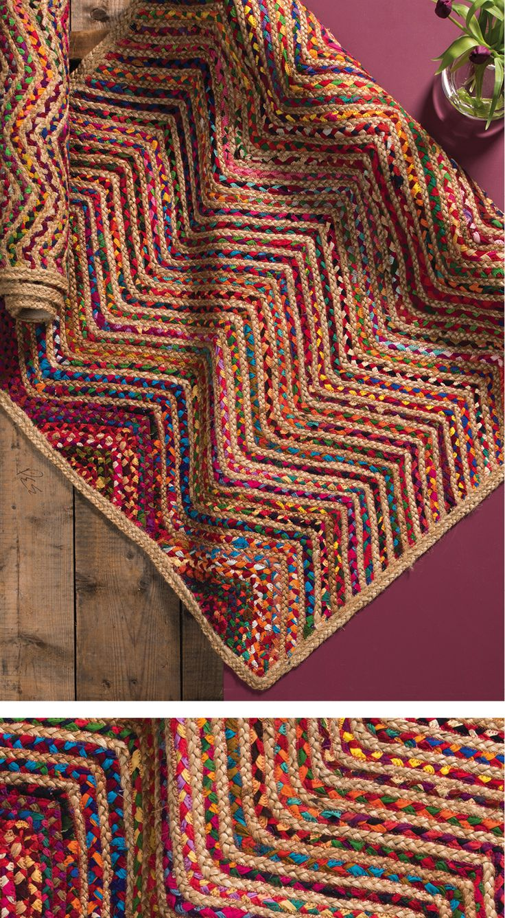Our Reycled Cotton & Jute Braided Wave Rugs will brighten up any space available in 2 sizes - Hand made in India for Namaste on a fair trade basis.