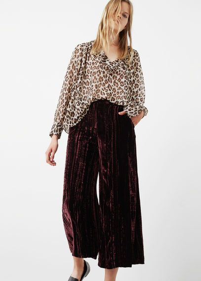 Cropped velvet trousers