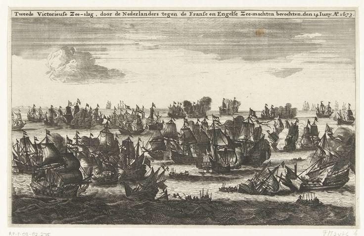 Anonymous | Zeeslag op Schoonevelt, 14 juni 1673, Anonymous, 1674 - 1676 | De zeeslag voor de Zeeuwse kust op de vlakte van Schoonevelt op 14 juni 1673 tussen de vloot van de Republiek onder De Ruyter en de gecombineerde Engels-Franse vloot onder Prins Rupert en graaf Jean d'Estrées.