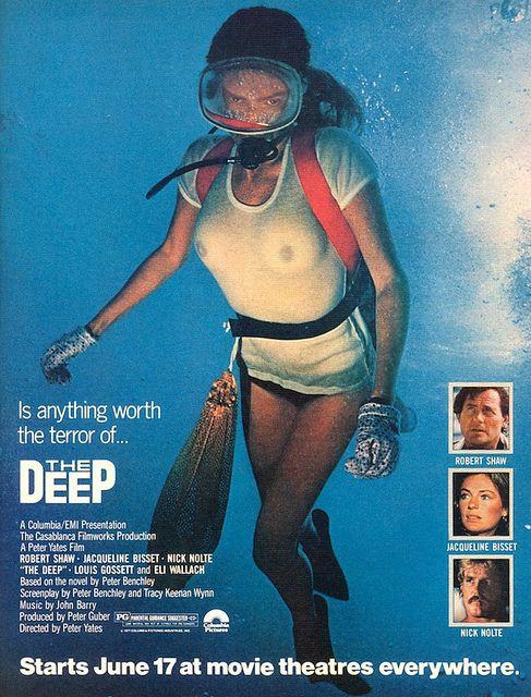 "Jacqueline Bisset, ""The Deep"".Movie Posters, Filmart Xalapa, Peter Benchley, Classic Movie, Jaqueline Bisset, Movie Stars, Movie Moments, Deep 1977, Jacqueline Bisset The Deep"