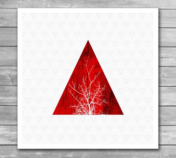 Wood Wood Prints Tree Print Design Print Red Triangle
