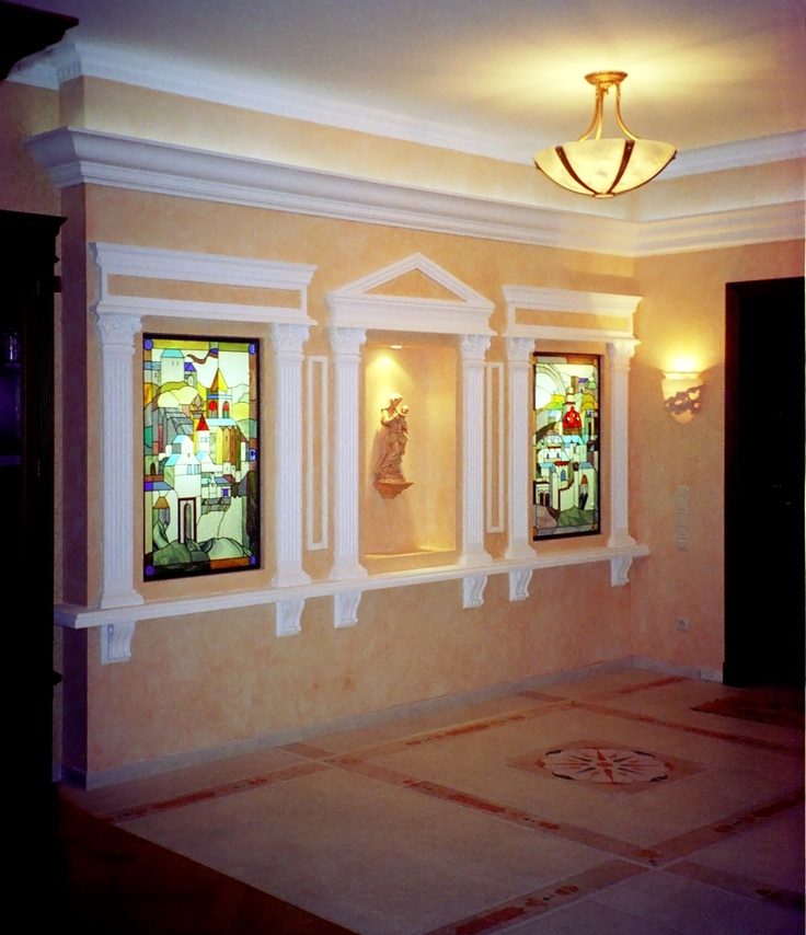 Yuri Yudaev. «Medieval City» / Stained glass project realized in the apartment at the Sokol District (Moscow, Russia) - Light Situation. 2003; 102 x 62 cm each part.