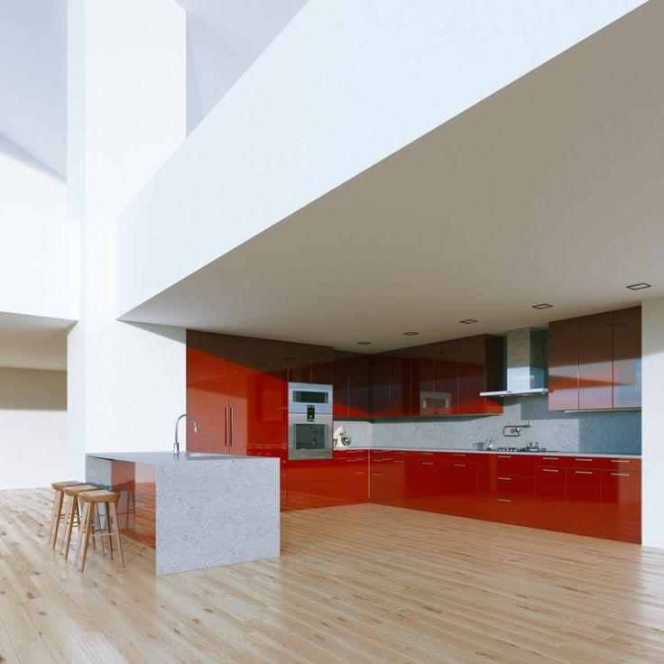 Dieses geräumige L-förmige Küche passt sich an die minimalistische offenen Raumkonzept.