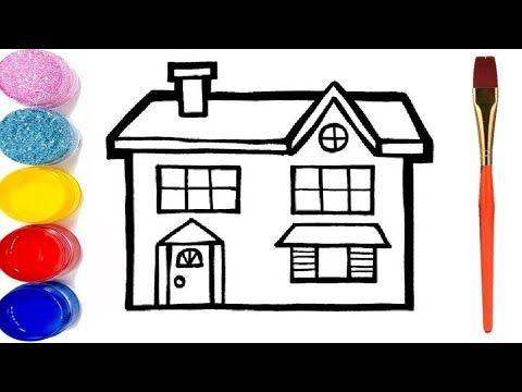 تعليم الرسم للاطفال رسم بيت للاطفال مع التلوين رسم سهل خطوة بخطوة Youtube Drawings Learn To Draw Christmas House