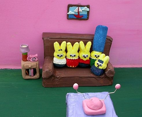 The Simpsons is an older show that's still in production. And there are a lot of Peep versions, as the yellow characters are easy to depict. The best photograph of a Simpsons scene in Peeps is from a student team consisting of John Dern, Kim Moore, Allegra Williams, Cady Clas, and sophomore Chelsea Burke. It was a semifinalist in the Washington Post contest in 2007.