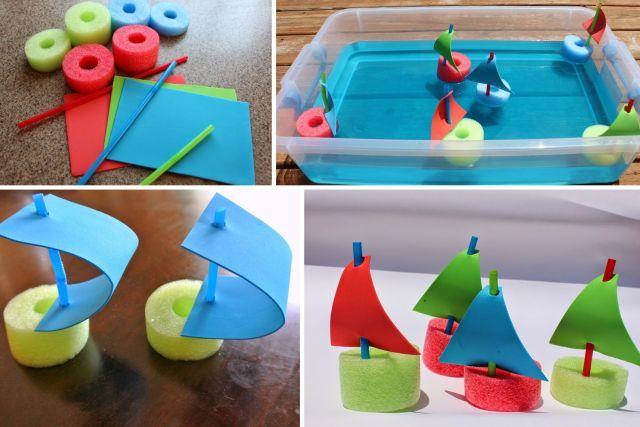 Faire des petits bateaux avec des nouilles de piscine ⛵️