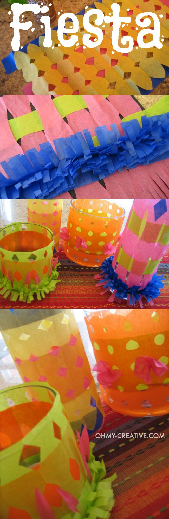 These Fiesta candle holders make a great centerpiece for Cinco de Mayo or a Mexican Fiesta. The are cheap to make using tissue paper and something fun for the kids to make     OHMY-CREATIVE.COM