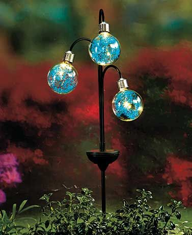 blue solar triple globe orb lights yard art outdoor stake deck patio accents in home u0026 garden yard garden u0026 outdoor living other yard garden u0026 outdoor