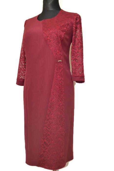 916e9ecf5d Elegancka sukienka MIRANDA 46-54 BORDO na wesele Duże rozmiary ...