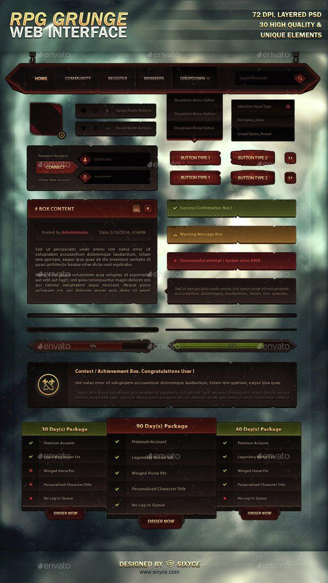MMORPG Grunge Web Interface (PSD) by InsDev.deviantart.com on @DeviantArt