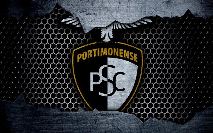 Hämta bilder Portimonense FC, 4k, football club, logotyp, emblem, Portimao, Portugal, fotboll, Portugisiska mästerskapen, metall textur, grunge