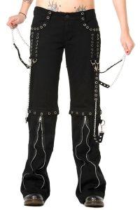 Banned - Gothic Hose mit Schnürungen, Ketten und Zippern - silver