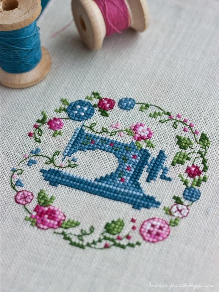 Beautiful counted cross stitch sewing machine with flower garland