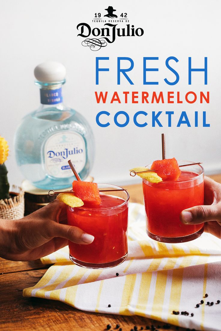 Sip on the fresh side with this juicy watermelon cocktail. Whether you're hosting a party or having a night in with friends, this tequila recipe is a crowd pleaser.  To make, simply add 1.5 oz. Don Julio Blanco (gluten-free and made with 100% Blue Agave Plant!), 6 oz. Freshly Pressed Watermelon Juice, 0.5 oz. Fresh Lemon Juice, and Ice to a cocktail shaker. Shake vigorously. Pour drink over a fine strainer into a 12 oz. Highball glass. Add ice and garnish with pickled watermelon rind.