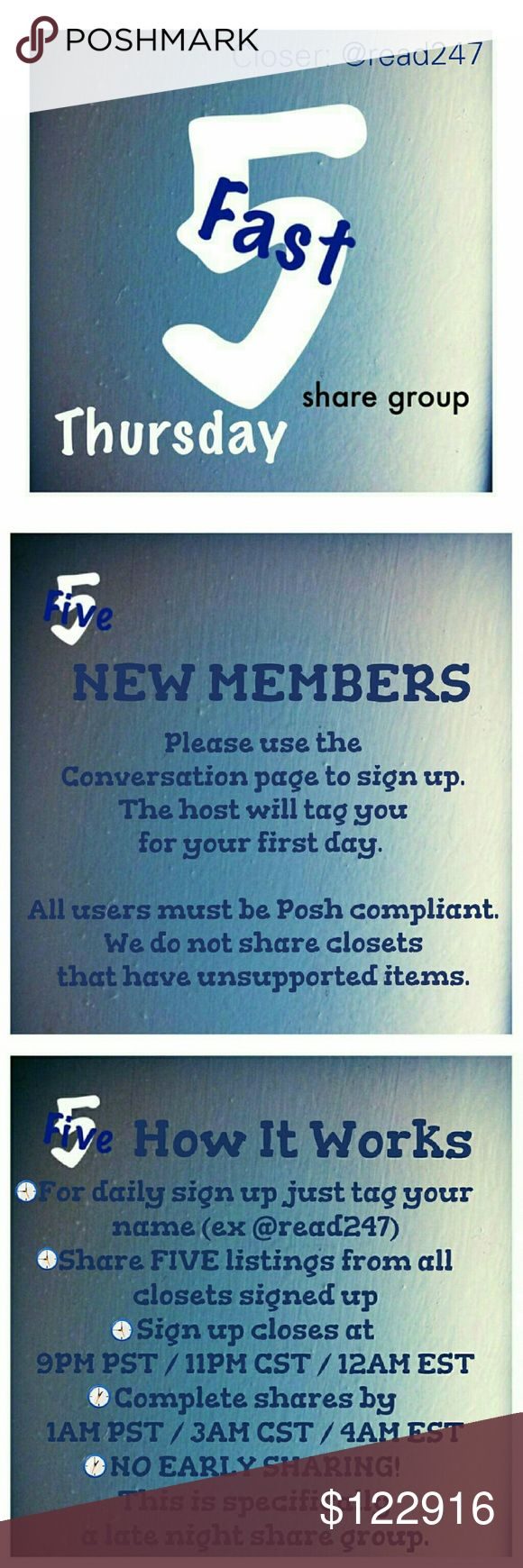 ⏳Thursday, 12/29, Fast 5 Sign Up Sheet⌛ 🌃New group members please sign up on the Conversation page. 🌃POSH COMPLIANT CLOSETS ONLY! 🌃If you have any ?s please use the conversation page. 🌃Share FIVE available listings. 🌃Sign up is open until 9PM PST /11PM CST /12AM EST 🌃You have until 1AM PST /3AM CST /4AM EST to finish sharing. 🌃NO EARLY SHARING! This group was created specifically for sharing at night. 🌃THIS IS THE DAILY SIGN UP SHEET! 🌃PLEASE BE SURE TO LIKE THE CONVERSATION PAGE…