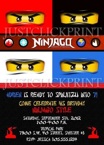Ninjago Inspired Lego Birthday Invitation - Printable