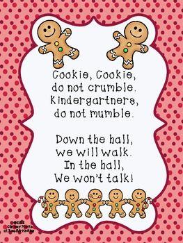 GINGERBREAD COOKIE LINE UP CHANT - TeachersPayTeachers.com