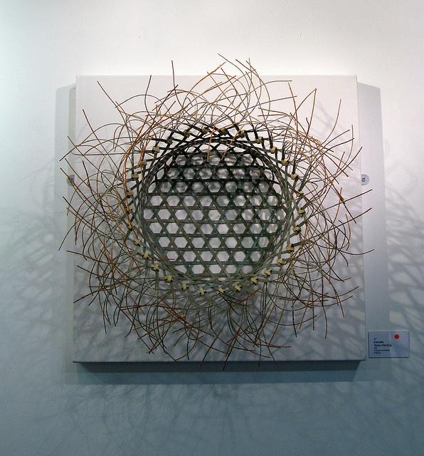 hexagonal plait basket, painted spun paper by Stella Harding