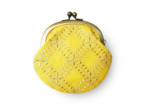 lemon sherbert yellow coin purse