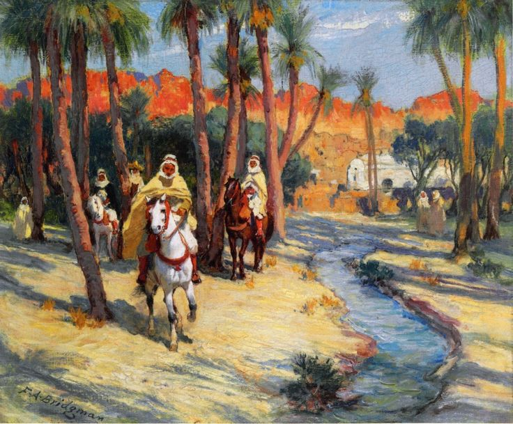 The Athenaeum - Riding through an Oasis (Frederick Arthur Bridgman - )