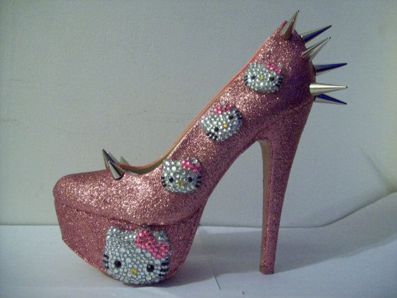 HELLO KITTENS HEELS Kitty Kat by uniquezaccess on Etsy, $180.00