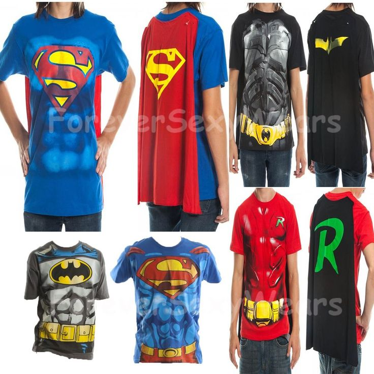 Men Marvel DC Comic Book Costume T-Shirt Tee Cape Batman Superman Robin Suit Up #MarvelDCComicHeroes #GraphicTee