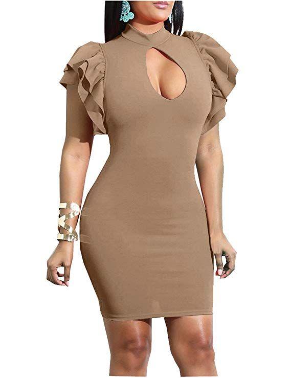 Mokoru Women s Sexy Ruffle Short Sleeve Hollow Out Bodycon Party Mini Club  Dress d586454f3