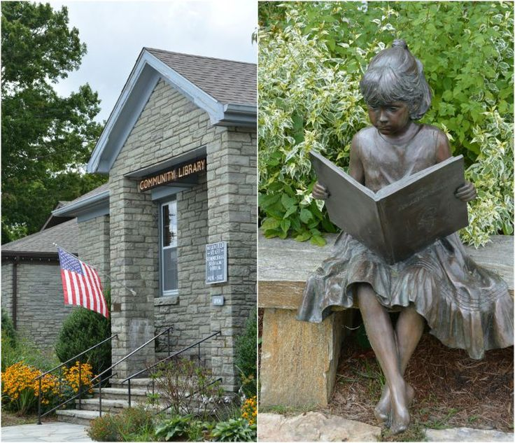 """Jessie"" reading in front of The Community Library, Blowing Rock, NC 