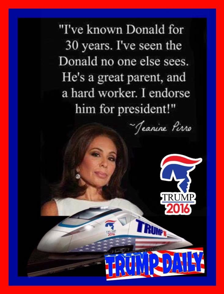 Judge Jeanine Pirro.....she should run for his side kick.  Smart, successful, hard worker.  Her opinion stands for a lot America
