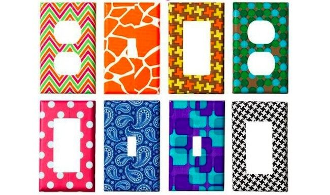 Duct Tape DIY Projects - Switch Plates... super cute for girls' room or play room