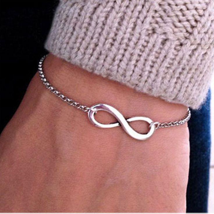 2016 Simple Fashion Silver Gold Plated Chain Bracelets Infinity Bracelet Eight Shape Charm Bracelets Bangles For Women Pulseras
