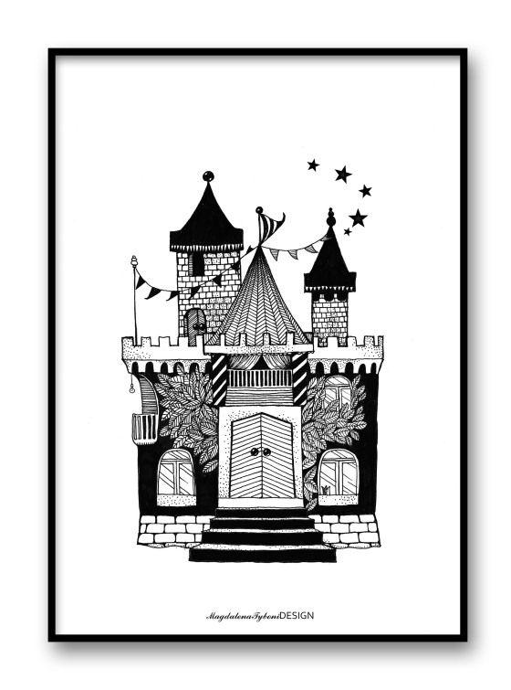 0780d2c3fc-slottet svart, barnmotiv, magdalenatybonidesign, magdaty, till barnrummet, inredning och dekoration, tavla, print och poster, grafisk design. A4. 30x40