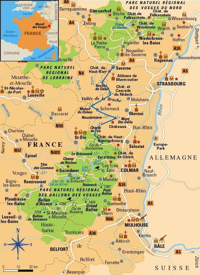 Les Vosges avec les parcs naturels -(Alsace, Franche-Comté, Lorraine)