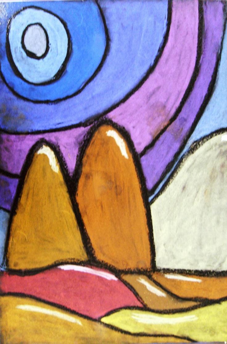 Rainbow landscape original oil pastel drawing - Chalk Pastel Landscape Outlined In Oil Pastel
