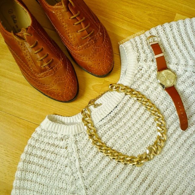 BROWN BROGUES AND WHITE KNITS - FIFASHION BOBEAUTY
