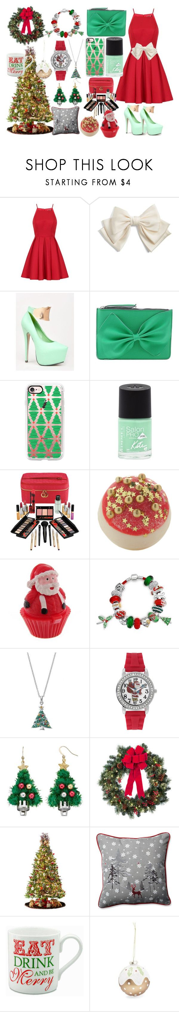 """""""Moden christmas 2016 Style"""" by colourlover24 ❤ liked on Polyvore featuring Chi Chi, Cara, Kiss Kouture, Leghilà, Casetify, Rimmel, Elizabeth Arden, Bling Jewelry, Mixit and Improvements"""