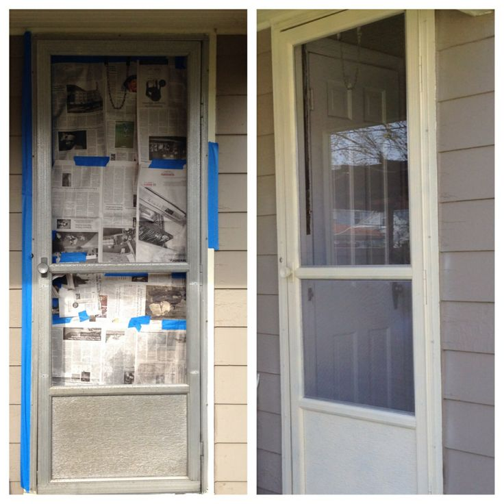 """Rescue that ugly (but custom-sized) storm door: scrub it clean, then use 3 cans Krylon Ivory Satin spray paint. Send torn up screen to corner hardware for $10 rescreening. Reassemble. Not bad for $20 and some sweat equity! (Let's not even consider the cost of replacing a 29.25"""" x 81"""" storm door.)"""