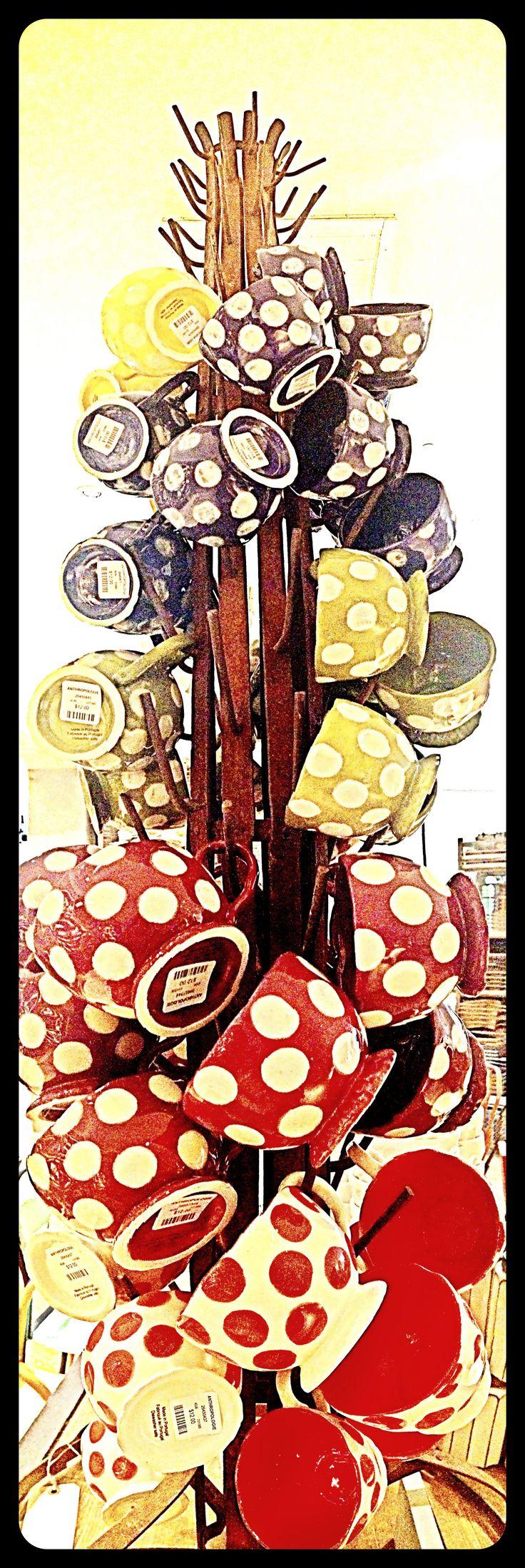 Tree of polka-dot cappuccino mugs. Anthropologie #anthrofave #juvenilehalldesign