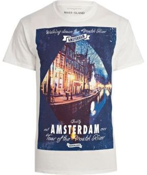 White Amsterdam canal print t-shirt on shopstyle.co.uk
