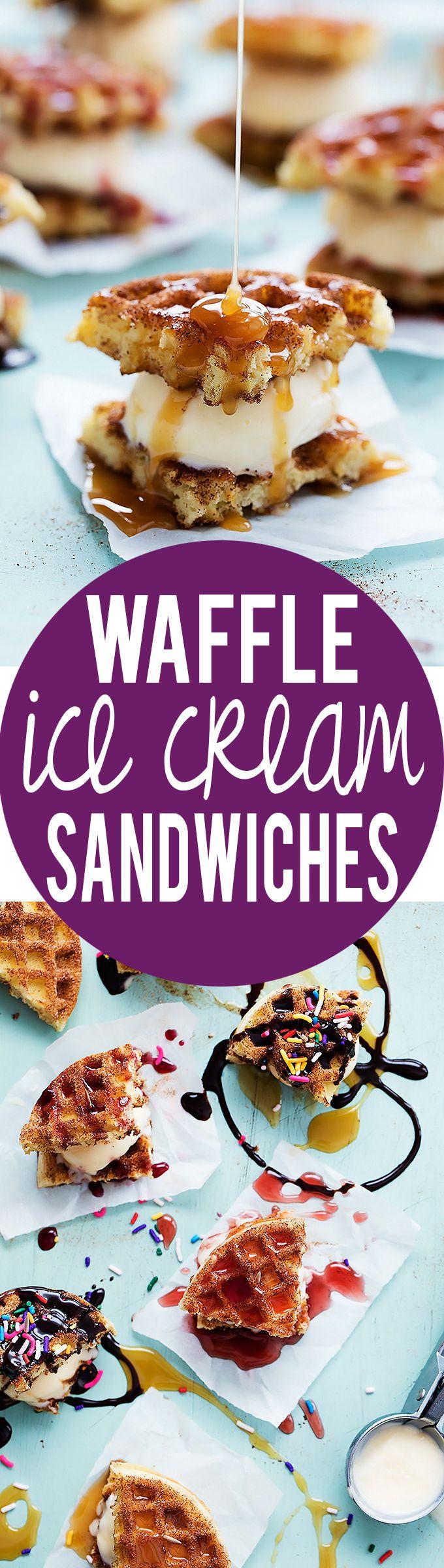 Snickerdoodle Waffle Ice Cream Sandwiches | Creme de la Crumb