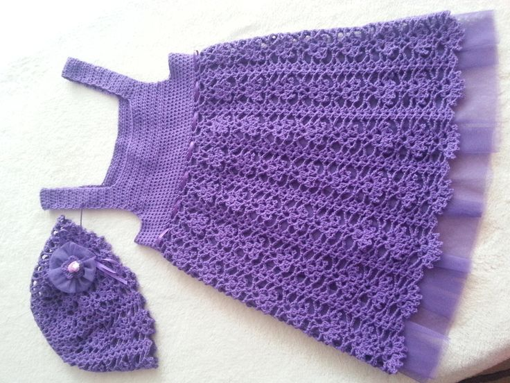 Pretty!!! Crocheted  dress  for girls with a hat from Knit and crochet by DaWanda.com