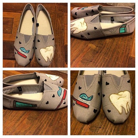 Dental themed painted shoes by shelleyspaintedshoes on Etsy
