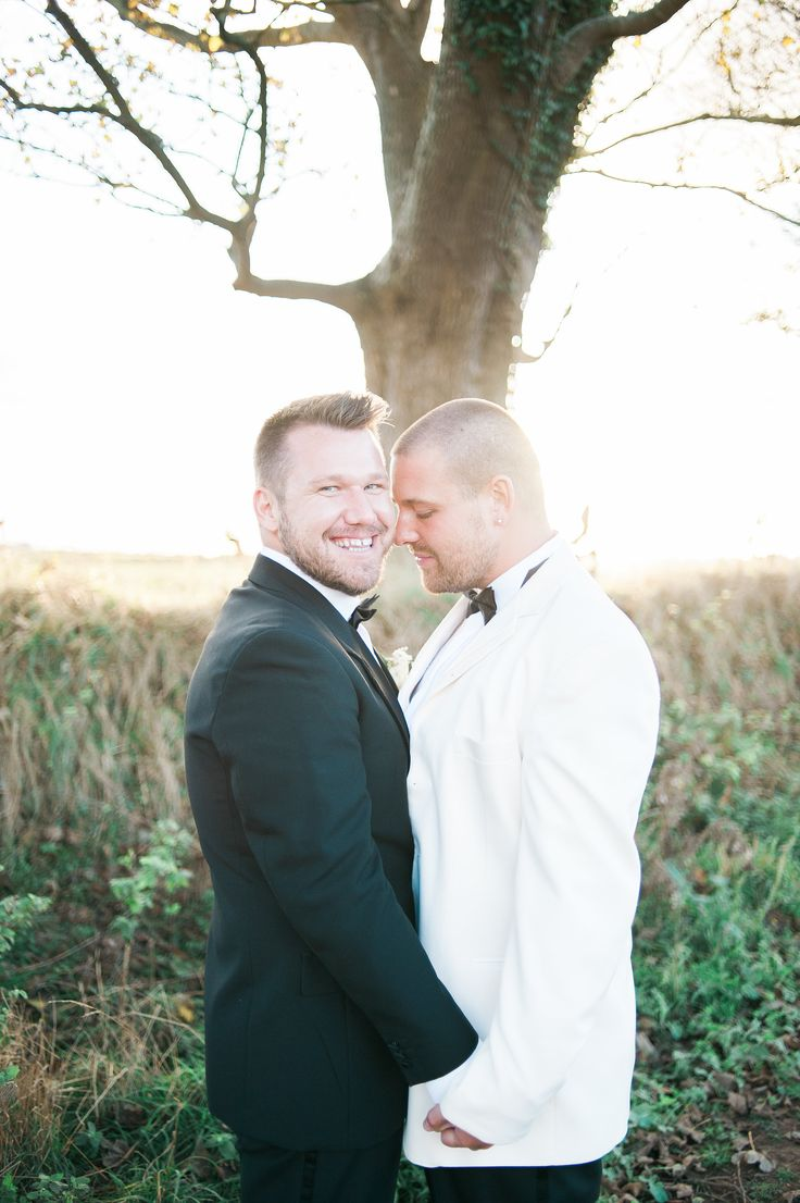 Grooms in tuxedo's for gay wedding at The Outbuildings, Anglesey