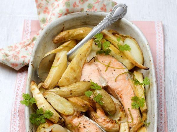 Zalm met aardappel en pastinaak